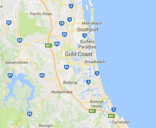 Map of Gold Coast